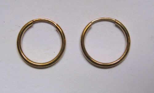 1.2cm wide 9ct gold 1.5mm thick tubular sleeper hoop earrings