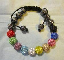 Mult Crystal Macrame Bracelet Adjustable HIP HOP Genuine Crystal Bead High End