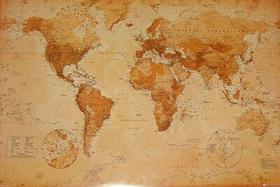 """WORLD MAP POSTER """"VINTAGE"""" LARGE """"LICENSED"""" BRAND NEW """"wall chart"""""""