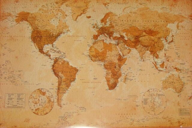 "WORLD MAP POSTER ""VINTAGE"" LARGE ""LICENSED"" BRAND NEW ""wall chart"""