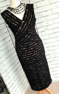 MINT-VELVET-Black-Lace-Evening-Dress-Sz-10-Pencil-Straight-Party-b27