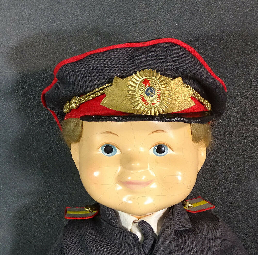 1940's Rare USSR Russian Doll toy rot Army Officer General Military Uniform 16''
