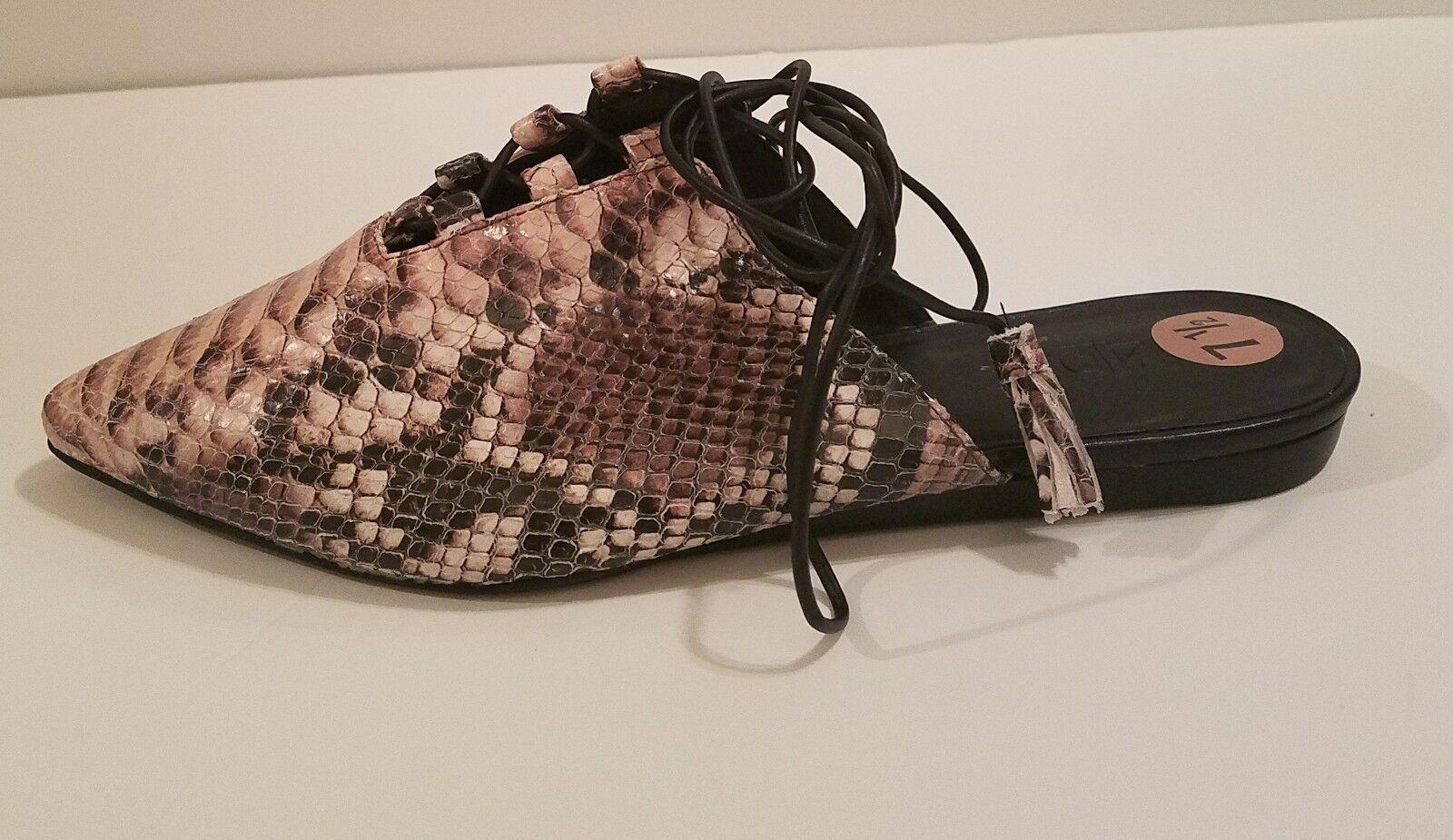 M4D3 della della della Polvoriento rosado piel de serpiente en relieve en cuero en envoltura de Tobillo Plana Mula Talla 7.5  100% autentico