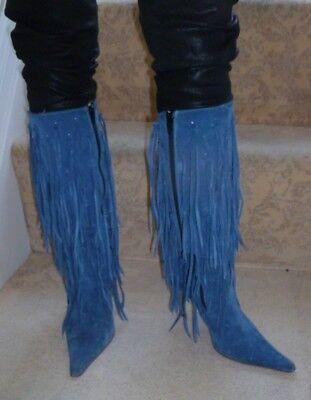 * Favoloso * Italiano Blue Suede Slip/stivali Con Frange-taglia 4-ed Boots - Size 4 It-it Mostra Il Titolo Originale