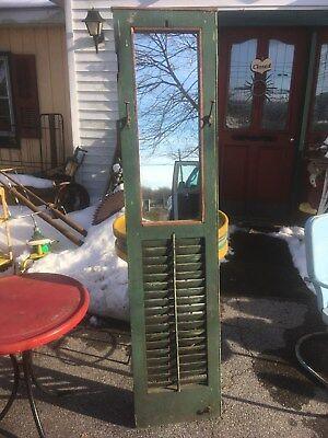 Primitive wood shutter country wall mirror farm door Hallway mirror Coat Rack