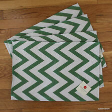 Chevron Woven Placemats Kitchen Dining Table Set Of 4 Tapestry Green Stripes