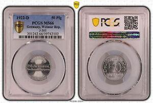Weimarer Republik 50 Pfennig 1922 D PCGS MS66 51637