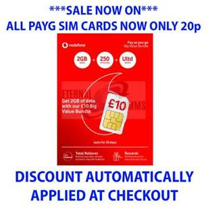 Vodafone Payg Top Up >> Details About Payg Vodafone Big Value Bundle 30 Sim 20gb Data Only 20p Discount Auto Applied