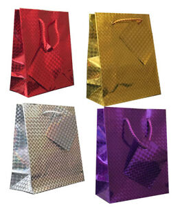 Tallon Holographic Gift Bags Small Pack Of 12 Red//Silver//Gold//Purple