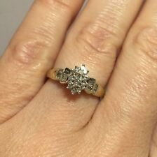 WoW 10k Yellow Gold Diamond Pave Estate Wedding Cocktail Cluster Marquise Ring 7