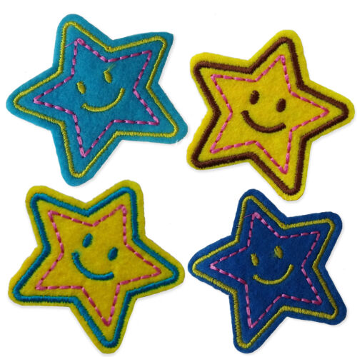 Smiley Estrellas Hierro Coser apliques Parches sonrisa cara feliz pequeño logotipo bordado