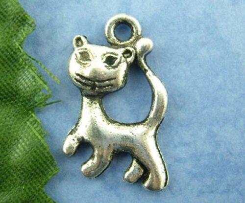 10 Tibetan Silver Cat Pendant Charms 21mm