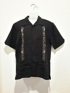 Cubavera-Mens-S-button-down-hawaiian-embroidered-shirt-black-drinks-waves-NWOT