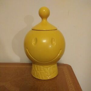 VINTAGE MCCOY HAVE A HAPPY DAY COOKIE JAR Smiley Face Yellow