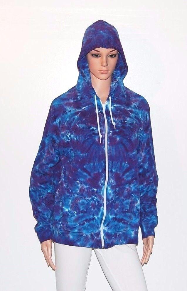 Adult Tie Dye Zip Hoodie lila Blau Blotter Zipper Sweatshirt Grateful Dead art