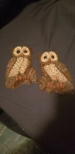 Two Vintage Owl Wall Plaques Hanging Decor Molded Foam Art