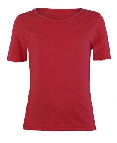 KCST Girls Boys Plain Cap-Sleeve Viscose Crew Uniform Jumper T-Shirt Tops