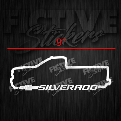 Silverado Chevy Single Cab Truck Outline Decal 9 Quot White