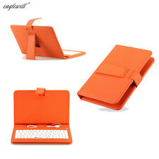 "7"" Orange Universal Leather Stand Cover Protective Keyboard Case for 7"" Tablet"