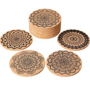 Tatuo 12 PIECES Cork Coasters pour boissons Absorbant Réutilisable cup mat verre pour 4