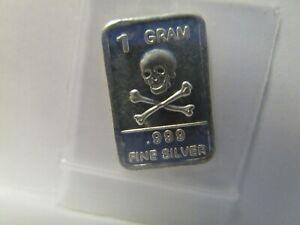 Silver Skull /& Crossbones .999 Fine Bar One Gram