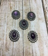 5 - 2 Hole Silver Metal Purple Oval Amethyst Stone Slider/Connectors USA