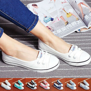 Chic-Women-Lady-Low-Top-Casual-Sneakers-Breathable-Flats-Canvas-Shoes-Summer-US