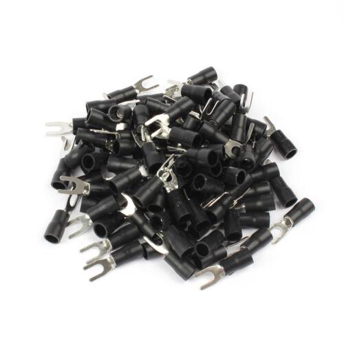 50PCS SV3.5-4 Negro Aislado Pala Horquilla Crimp Cableado Eléctrico Conector de Cable