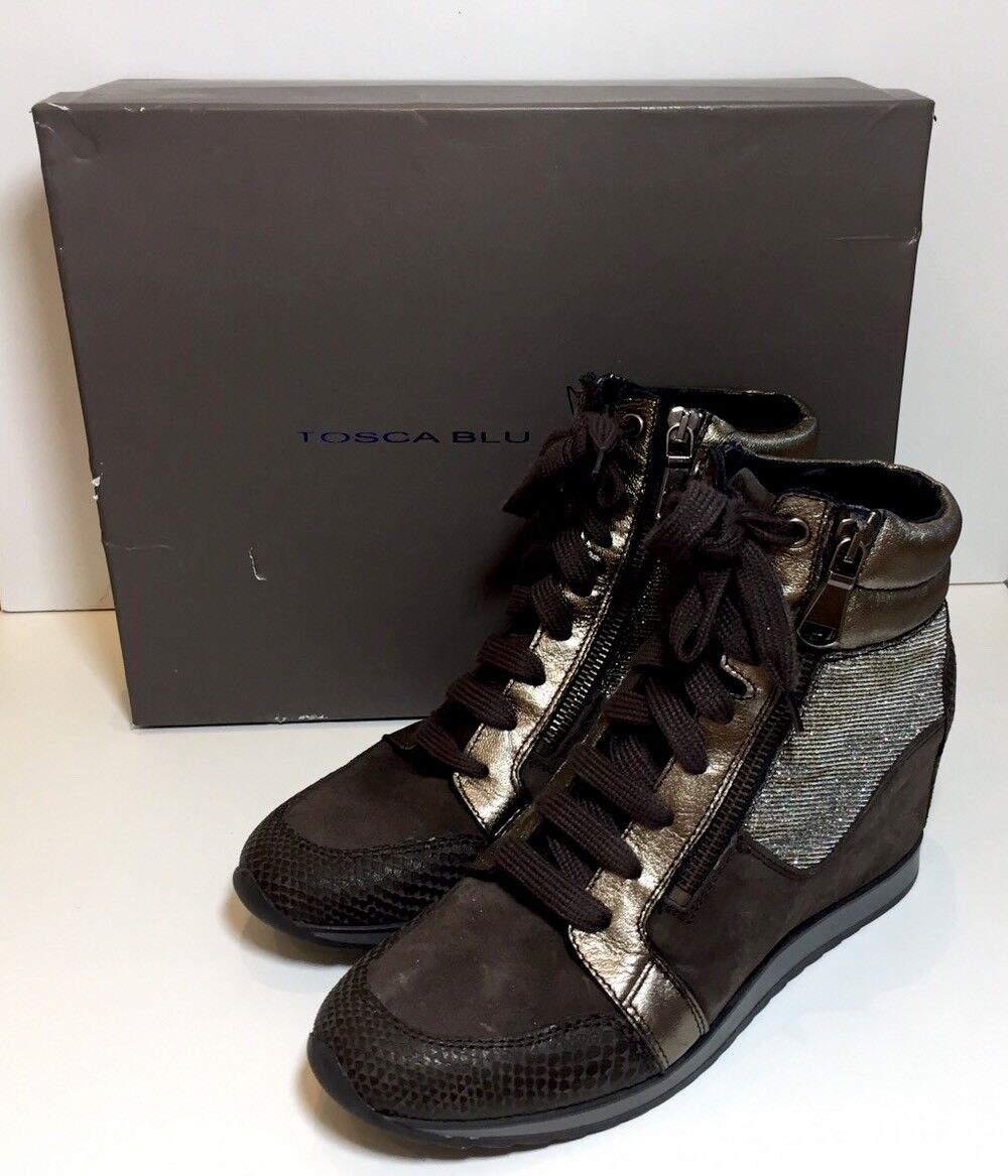 TOSCA Blau schuhe braun Silber Gold Suede High Top Ankle Trainers Stiefel 38   5