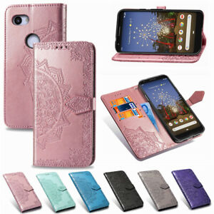 Pour-Google-Pixel-3A-3A-XL-Mandala-cuir-Flip-Stand-Carte-Portefeuille-TPU-Case-Cover