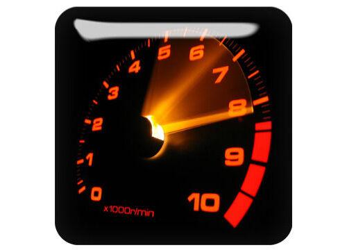 "Odometer 1/""x1/"" Chrome Domed Case Badge Sticker Logo"