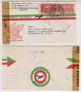 MEXICO 1944-46 PS H&G IB5 CENSOR ENVELOPE CIUDAD CHOTUMAL TO PHILADELPHIA USA VF