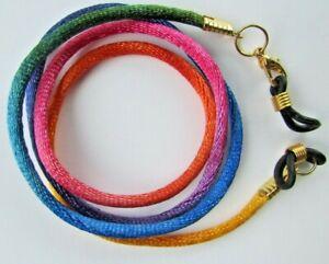 "Rainbow Gold Toned Eye sun Glasses  lanyard 24/"" Satin Braided Nylon Cord"