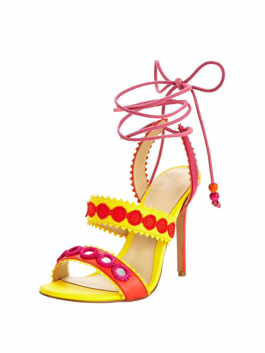 Forever Unique Heeled Sandals UK 7 HARLEM - Yellow orange And Fuchsia