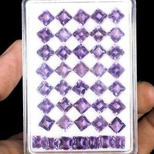 42-Pcs-6-5mm-Natural-Amethyst-Brazil-Square-Cut-Top-Purple-Lusturous-Gemstones