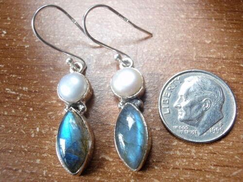 Cultured Pearl et Labradorite Marquise 925 Sterling Silver Dangle Boucles d/'oreilles