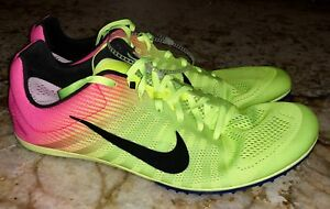 e8ab99aad08 NIKE Zoom D OC Volt Yellow Pink Black Track Distance Spikes Shoes ...