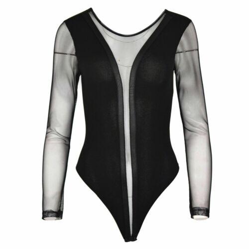 Womens Ladies Bardot Long Sleeve Off The Shoulder Frill Leotard Bodysuit Top