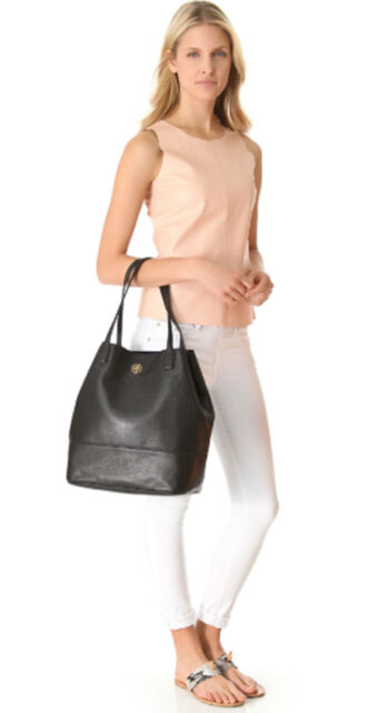 c6ade41a2e3 Tory Burch Black Leather Michelle Tote Handbag Large for sale online ...