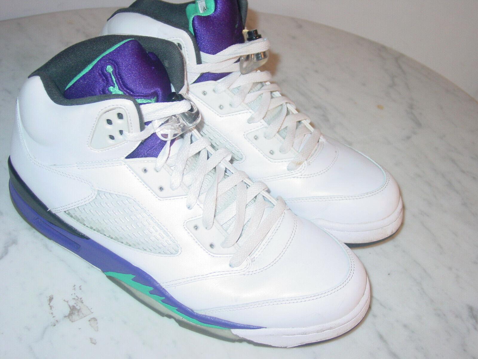 2012 Nike Air Jordan Retro 5  Grape 2013 Release  White Grape Ice shoes Size 11.5