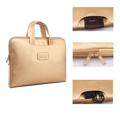 Gold Leather NoteBook Sleeve Carry Bag For HP Dell Macbook Air Pro 13 14 15 ''