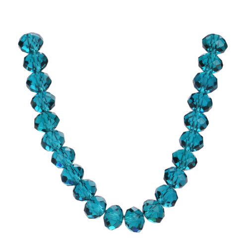 Faceted Necklace Rondelle Glass Peacock Blue Wholesale Lots Beads Loose 3-18mm