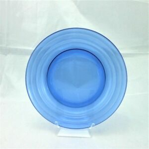 Moderntone-Cobalt-Blue-Transparent-Depression-Glass-Hazel-Atlas-Salad-Plate-Vtg
