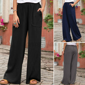 Womens Wide Trousers Elastic Waist Full Length Pants Plus Size 16 18 20 22 24