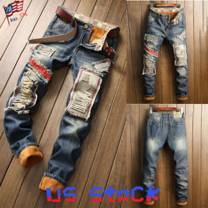 Mens Skinny Trousers Biker Distressed Frayed Wash Patch Denim Jeans Ripped Pants