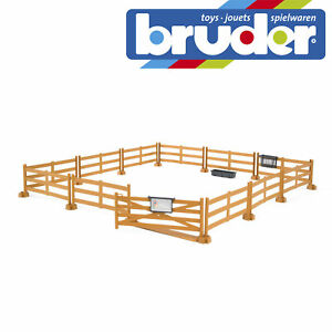Bruder-Farm-Accessories-Pasture-Fence-Brown-Kids-Farming-Toy-Model-Scale-1-16