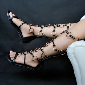 e98f91d11268 Image is loading Women-Ladies-Flat-Summer-Shoes-Strappy-Gladiator-Cut-