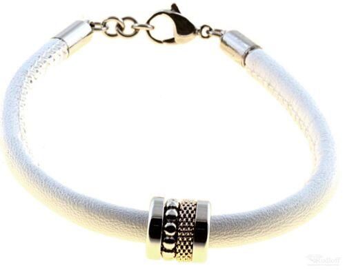 Bering pulsera con charm-combinación de cuero blanco de acero inoxidable bicolor ASC-charm 22