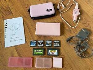 Nintendo DS Lite Pink Bundle w/chargers and 6 games(incl 2 GBA games)