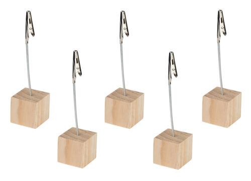 mit flexiblem Metalldraht und Holzsockel Notizzettelhalter 5x Memohalter